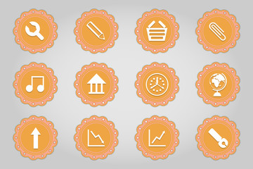 Set of flat icons in retro style. Part 3