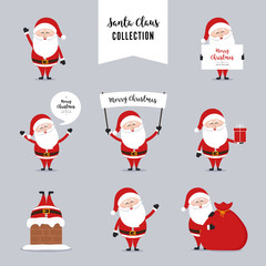 santa claus character greetings christmas collection