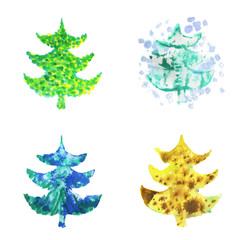 Watercolor Christmas tree set. Painting abstract illustration on white background