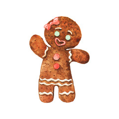 Watercolor vintage gingerbread girl. Hand drawn Christmas illustration on white background