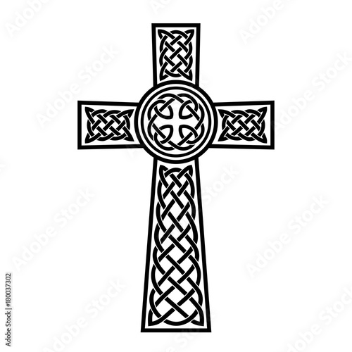 Celtic Cross With White Patterns On A Black Background Stock Image And Royalty Free Vector Files Fotolia