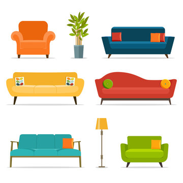 Sofa and chair sets and home accessories.Vector flat illustration.