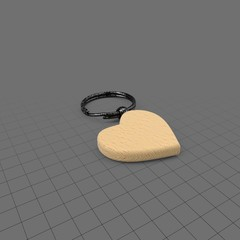 Wood heart keychain