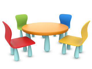 Kids colorful table and chairs set