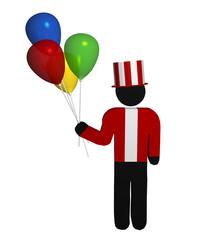 Luftballonverkäufer mit rot-weiß gestreiftem Zylinder auf weiß isoliert