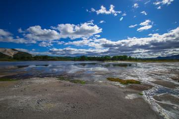 Acid lake in Uzon's volcano caldera. Kamchatka, Russia.
