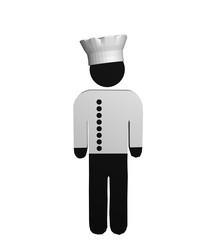 Figur eines Kochs in rot-weiß mit Kochjacke und Kochmütze