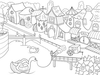 Children coloring raster fairy city with river