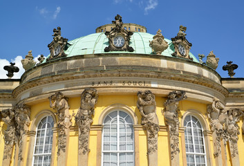 The central part of the palace of Frederick the Great in the Sanssousi park. Potsdam, Germany