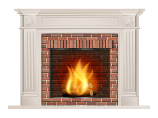 Classic fireplace with pilasters and a furnace with red brick inside. The element of the interior living room. Vector illustration.