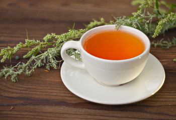 delicious sagebrush tea in a beautiful glass bowl on table
