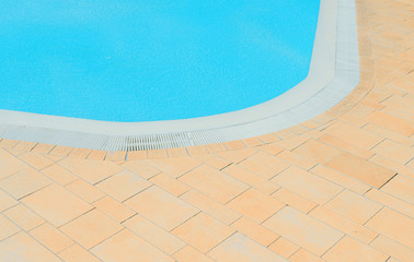The corner of a swimming pool