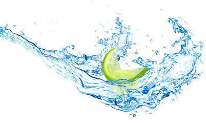lime and water splash on a white background