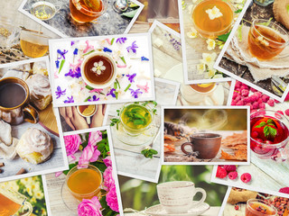 Collage of tea. Selective focus.