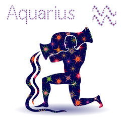 Zodiac sign Aquarius stencil