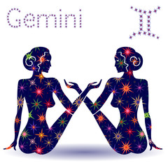 Zodiac sign Gemini stencil