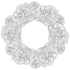 Vector mandala in black and white. Round pattern for coloring. Abstract frame