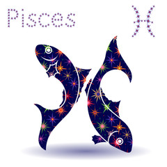 Zodiac sign Pisces stencil