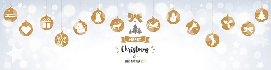 Christmas banner with hanging balls on bokeh