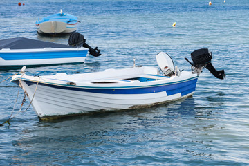 White wooden fishing motor boat, Greece