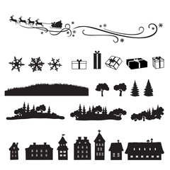 Christmas collection of design elements, black and white isolated silhouettes