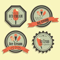 Vector Set of Vintage Logos, Ice Cream Stickers