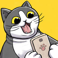 Surprised Cat Looking at Smartphone