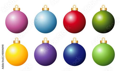 Kugel Für Tannenbaum.Weihnachtskugel Sammlung Bunte Tannenbaum Christbaum Kugeln Vektor