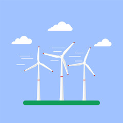Alternative energy source. Wind turbines. Vector Illustration in