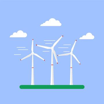 Alternative energy source. Wind turbines. Vector Illustration in