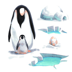 Watercolor penguin and his baby on the snow with ice house sea and egg