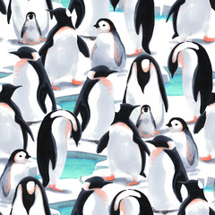 Watercolor seamless pattern witn penguin's flock  on the snow