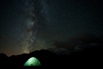 Stars, Milky Way Galaxy over Camp Tent