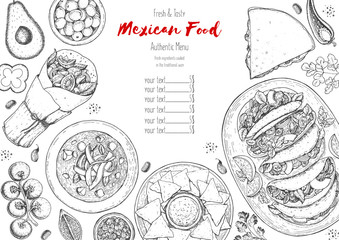 Mexican food top view frame. A set of mexican dishes with burritos, quesadillas, fajitas. Food menu design template. Vintage hand drawn sketch vector illustration. Mexican cuisine engraved image.