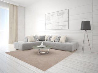 Mock up a bright living room with a fashionable corner sofa and a stylish floor lamp.