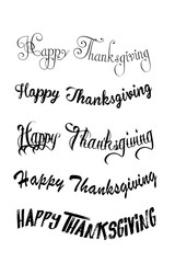 Thanksgiving typography hand drawn. Celebration Happy Thanksgiving Day. Thanksgiving vector vintage style text calligraphy. Usable for prints, flyers, banners, greeting cards, posters, invitations, sp