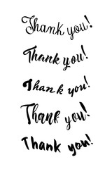Thank You calligraphy. Handwritten ink lettering. Brush painted letters. Vector illustration. Hand drawn design elements. Thank you card. Modern brush calligraphy.