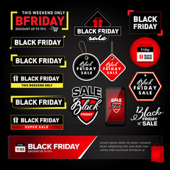 Black Friday sale design elements set. Black Friday sale inscription labels, stickers. Isolated Vector illustrations.