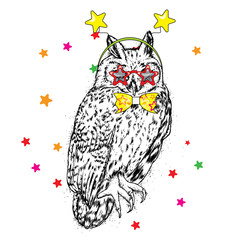 Funny owl with glasses and a tie. Festive costume. Vector illustration. Celebration.