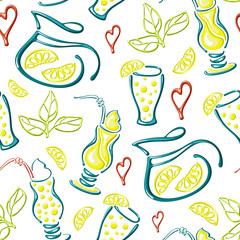 vector seamless lemonade pattern with glasses, jugs, lemon slices and hearts. On white background. Suitable for wallpaper, wrapping, textile or  advertising