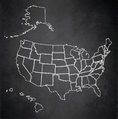 USA map with Alaska and Hawaii, separate states individual, blackboard chalkboard vector