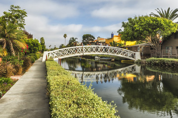 Venice Canals, white bridge - Venice Beach, Los Angeles, California, USA