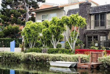 Venice Canals, cosy colorful house with boat - Venice Beach, Los Angeles, California, USA
