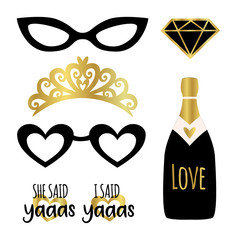 Silhouette set of party photobooth props vector elements. Champagne, crown, glasses, diamond and signs She said Yes - in american trend word