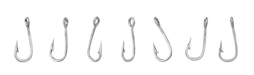 Set of fishing hooks isolated on a white background. 3d illustration