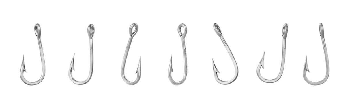 Set of fishing hooks isolated on a white background. 3d illustration