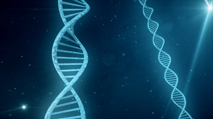 Blue background with rotating DNA 3d illustration