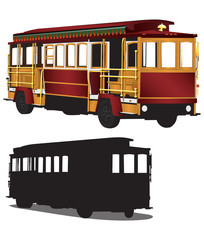 San Francisco Tour Cable Car Trolley Illustration Vector