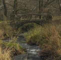 Stone bridge on Bobri creek in Ceske Stredohori mountains in Loucky village