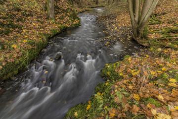 Bobri creek near waterfalls in autumn day
